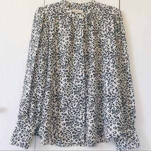 Loft Leopard Print Button Down Shirt Size M
